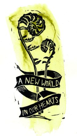 "banner reading ""A new world in our hearts"""